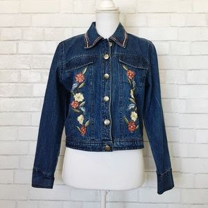 Vintage Embroidered Floral Jean Jacket PS